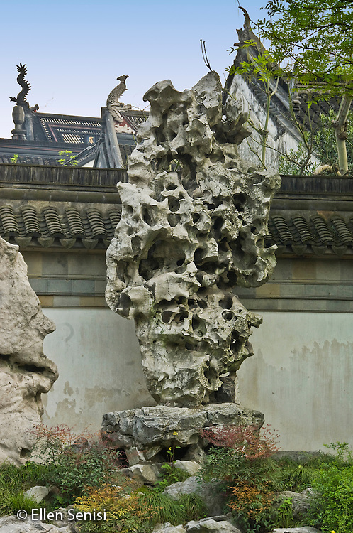 Shanghai, China / Yu Gardens / April 2007.Chinese Scholar's rock in restored traditional Chinese garden open to the public. These natural rock formations are highly prized in China and may be small or large. Large formations of Chinese Scholar's rock are often placed in gardens. .© Ellen B. Senisi