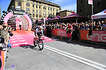 European Champion Victor Campenaerts (BEL) Lotto Soudal powers down the start ramp of Stage 1 of the 2019 Giro d'Italia, an individual time trial running 8km from Bologna to the Sanctuary of San Luca, Bologna, Italy. 11th May 2019.<br /> Picture: Eoin Clarke | Cyclefile<br /> <br /> All photos usage must carry mandatory copyright credit (© Cyclefile | Eoin Clarke)