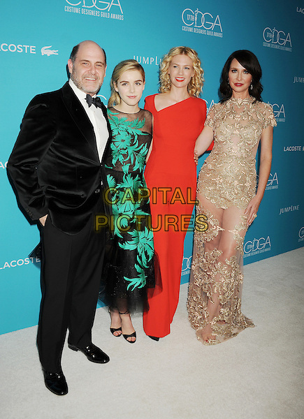BEVERLY HILLS, CA - FEBRUARY 17: (L-R) Writer/producer Matthew Weiner, actresses Kiernan Shipka, January Jones and costume designer Janie Bryant attend the 17th Costume Designers Guild Awards at The Beverly Hilton Hotel on February 17, 2015 in Beverly Hills, California.<br /> CAP/ROT/TM<br /> &copy;TM/ROT/Capital Pictures