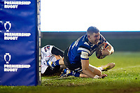 Ruaridh McConnochie of Bath Rugby scores a try in the first half. Premiership Rugby Cup match, between Bath Rugby and Gloucester Rugby on February 3, 2019 at the Recreation Ground in Bath, England. Photo by: Patrick Khachfe / Onside Images
