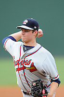 Starting pitcher Jason Hursh (45) of the Rome Braves in a game against the Greenville Drive on Tuesday, August 20, 2013, at Fluor Field at the West End in Greenville, South Carolina. Hursh was the No. 1 pick of the Atlanta Braves in the first round of the 2013 First-Year Player Draft. Rome won, 4-2, but Hursh did not factor in the decision. (Tom Priddy/Four Seam Images)