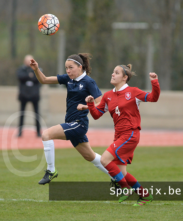 20160319 - FLERS , FRANCE : French Marion Rey (L) and Czech Natalie Valaskova (R) pictured during the soccer match between the women under 17 teams of  France and the Czech Republic , on the first matchday in group 3 of the UEFA Women Under17 Elite rounds at Stade du Haze in Flers , France . Saturday 19th March 2016 . PHOTO DAVID CATRY