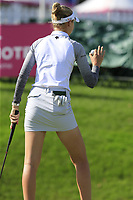 Nelly Korda (USA) sinks her putt on the 18th green during Thursday's Round 1 of The Evian Championship 2018, held at the Evian Resort Golf Club, Evian-les-Bains, France. 13th September 2018.<br /> Picture: Eoin Clarke | Golffile<br /> <br /> <br /> All photos usage must carry mandatory copyright credit (© Golffile | Eoin Clarke)