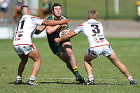 The Wyong Roos play Woy Woy Roosters in Round 2 of the Reserve Grade Central Coast Rugby League Division at Morry Breen Oval on 14th of April, 2019 in Kanwal, NSW Australia. (Photo by Paul Barkley/LookPro)
