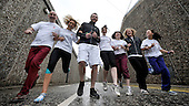 Cast members from the BBC series River City limber up as part of their training for the Edinburgh Half Marathon which they will run to raise funds for the Eileen McCallum Trust (which looks to help those suffering from Duchenne Muscular Dystrophy) - the are l to r - Billy McElhaney - Reanne Farley - Nick Rhys - Lorna Anderson - Claire Knight - Gary Lamont and Keira Lucchesi - Picture by Donald MacLeod - 21.2.11 - 07702 319 738 - www.donald-macleod.com