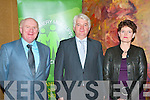 ICMSA MEETING: Addressing the members of the Kerry ICMSA at a meeting concerning falling milk prices at the Fels Point hotel on Monday l-r: Jackie Cahill (President ICMSA), John O'Callaghan (General manager, Kerry Agribusiness) and Sieta Van Keimpema (Deputy President, European milk board).  .