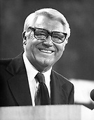 Famed actor Cary Grant flashes a big smile as he speaks to delegates at the 1976 Republican National Convention at the Kemper Arena in Kansas City, Missouri on August 19, 1976.  Grant told the delegates he expected the GOP would win in the November elections.<br /> Credit: Arnie Sachs / CNP