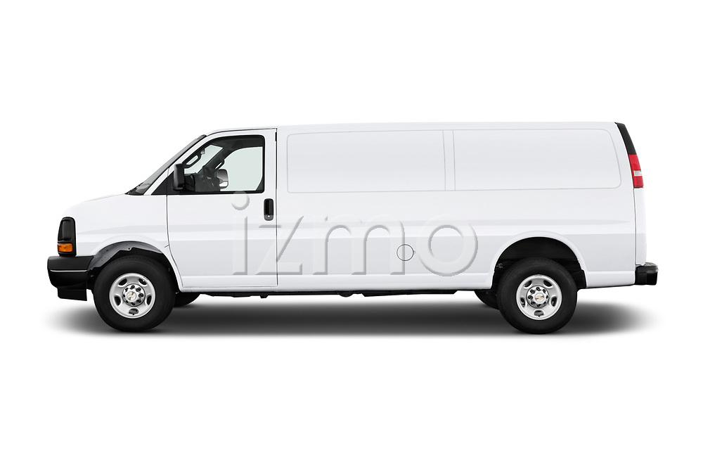 Car driver side profile view of a 2017 Chevrolet Express 3500 3500 Extended Work Van 4 Door Cargo Van