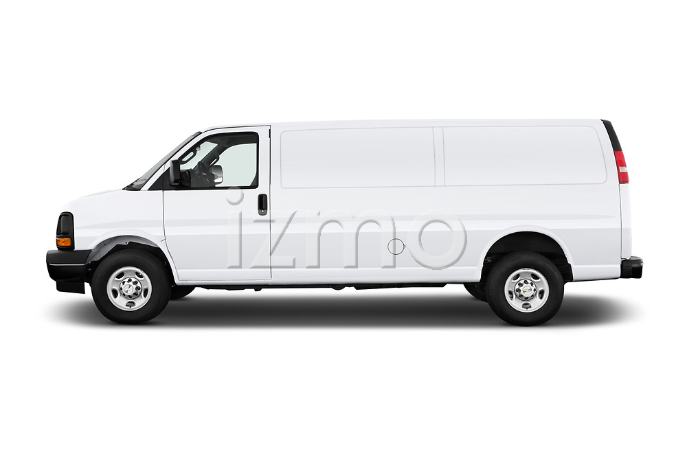 Car driver side profile view of a 2018 Chevrolet Express 3500 3500 Extended Work Van 4 Door Cargo Van