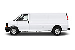 Car driver side profile view of a 2017 Chevrolet Express 3500 3500 Extended Work Van 4 Door Cargo Van