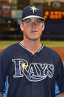 Tampa Bay Rays first baseman Casey Gillaspie (24) poses for a photo after an Instructional League game against the Boston Red Sox on September 25, 2014 at Tropicana Field in St. Petersburg, Florida.  (Mike Janes/Four Seam Images)