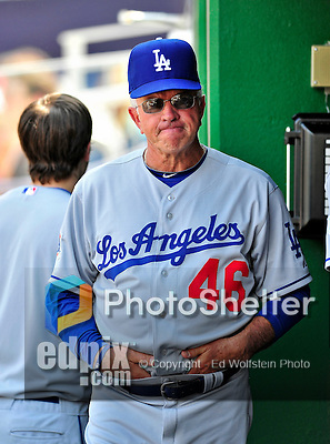 25 April 2010: Los Angeles Dodgers' Bench Coach Bob Schaefer stands in the dugout during a game against the Washington Nationals at Nationals Park in Washington, DC. The Nationals shut out the Dodgers 1-0 to take the rubber match of their 3-game series. Mandatory Credit: Ed Wolfstein Photo
