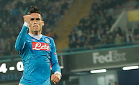 Napoli's Jose Callejon celebrates after scoring during the Europa  League Group D soccer match between SSC Napoli and Midtjylland at the San Paolo  Stadium in NaplesNovember 05, 2015