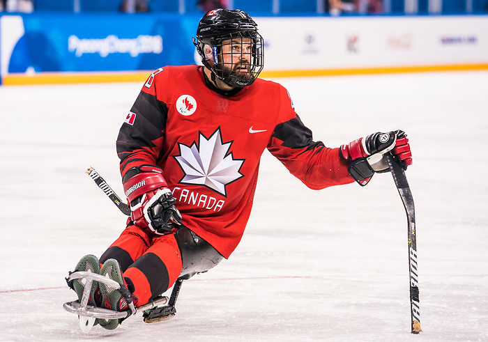 PyeongChang 15/3/2018 - Billy Bridges (#18), of Summerside, PEI, as Canada takes on Korea in semifinal hockey action at the Gangneung Hockey Centre during the 2018 Winter Paralympic Games in Pyeongchang, Korea. Photo: Dave Holland/Canadian Paralympic Committee