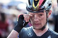 Belgian Champion Yves Lampaert (BEL/Deceuninck-Quick Step) wipes the dust out of his eyes. <br /> <br /> <br /> 82nd Gent – Wevelgem in Flanders Fields 2019 (1.UWT)<br /> Deinze – Wevelgem: 251,5km<br /> ©kramon