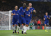 12th September 2017, Stamford Bridge, London, England; UEFA Champions League Group stage, Chelsea versus Qarabag FK; Tiemoue Bakayoko of Chelsea celebrates scoring his sides 4th goal in the 71st minute with Eden Hazard of Chelsea, Gary Cahill, the Chelsea captain and Cesc Fabregas of Chelsea to make it 4-0