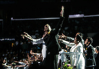 "LOS ANGELES,CA - JULY 7,2009: Family and friends sing ""We are the world"" during Michael Jackson memorial at Staples Center, July 7, 2009. A rose covered coffin holding the remains of Michael Jackson rests in the front of stage. Jackson, 50, died June 25th, after suffering an apparent cardiac arrest at his home in Los Angeles. Jackson is survived by his three children; son, Prince Michael Jr., daughter, Paris Michael Katherine, and son Prince Michael II.  Michael Jackson sold more than 750 million records, had 13 number one singles, more than any other male artist, and is one of the few artists to have been inducted into the Rock and Roll Hall of Fame twice; once as a member of The Jackson 5 in 1997 and later as a solo artist in 2001."