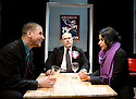 A Day at thye Racists by Anders Lustgarten,directed by Ryan McBryde.With Gwilym Lloyd as Tony McDonald,Nick Holder as Richard Coleman,Thusitha Jayasundera as Gina White .Opens at The Finborough Theatre on 4/3/10 Credit Geraint Lewis