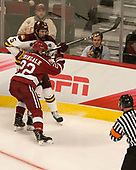 Nick Wolff (UMD - 5), Devin Tringale (Harvard - 22) - The University of Minnesota Duluth Bulldogs defeated the Harvard University Crimson 2-1 in their Frozen Four semi-final on April 6, 2017, at the United Center in Chicago, Illinois.