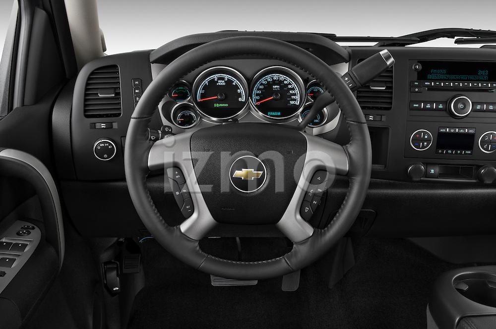 Steering wheel view of a 2009 Chevrolet Silverado Hybrid