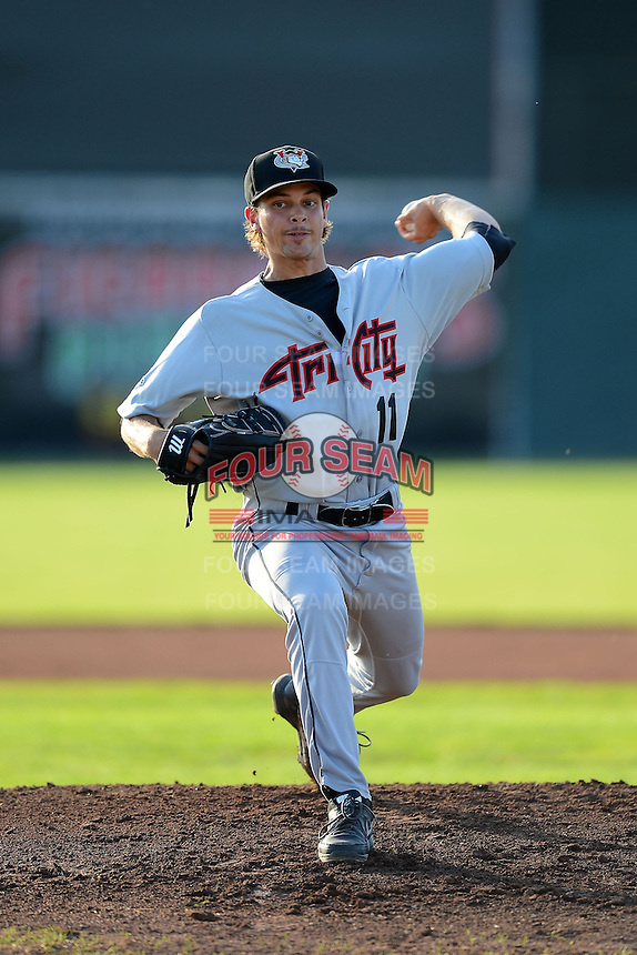 Tri-City ValleyCats pitcher Chris Cotton (11) during a game against the Batavia Muckdogs on July 13, 2013 at Dwyer Stadium in Batavia, New York.  Tri-City defeated Batavia 5-4.  (Mike Janes/Four Seam Images)