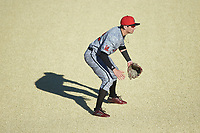 Louisville Cardinals third baseman Ben Metzinger (22) on defense against the Wake Forest Demon Deacons at David F. Couch Ballpark on March 7, 2020 in  Winston-Salem, North Carolina. The Demon Deacons defeated the Cardinals 3-2. (Brian Westerholt/Four Seam Images)