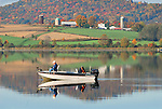 Fishing on Rose Valley Lake in Autumn, Lycoming County, PA