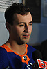 Jordan Eberle #7 of the New York Islanders speaks with reporters during the organization's Media Day at Northwell Health Ice Center in East Meadow on Thursday, Sept. 13, 2018.