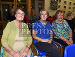 Mary Dempsey, Ger Murphy and Margaret Corrigan at the Social evening in Drumshallon Forge. Photo:Colin Bell/pressphotos.ie