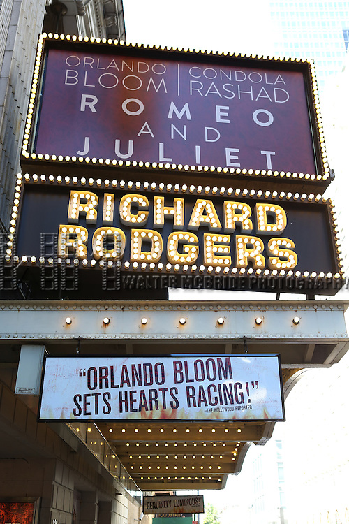 Theatre Marquee for William Shakepeare's most famous love tragedy 'Romeo and Juliet' starring Orlando Bloom, making his Broadway debut as Romeo and Condola Rashad as Juliet at the Richard Rodgers Theatre on September 29, 2013 in New York City.