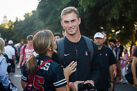 """Stanford, CA - October 05, 2019: Davis Mills during """"The Walk"""" before the  Stanford vs Washington football game Saturday night at Stanford Stadium.<br /> <br /> Stanford won 23-13."""