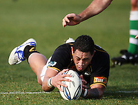 Wellington prop Anthony Perenise claims loose ball during the Air NZ Cup preseason match between Manawatu Turbos and Wellington Lions at FMG Stadium, Palmerston North, New Zealand on Friday, 17 July 2009. Photo: Dave Lintott / lintottphoto.co.nz
