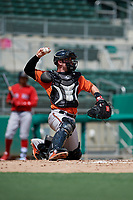 Baltimore Orioles catcher Ben Breazeale (60) throws back to the pitcher during a Florida Instructional League game against the Boston Red Sox on September 21, 2018 at JetBlue Park in Fort Myers, Florida.  (Mike Janes/Four Seam Images)