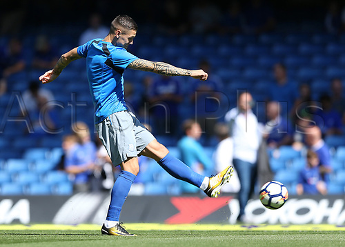 27th August 2017, Stamford Bridge, London, England; EPL Premier League football, Chelsea versus Everton; Muhamed Besic of Everton during pre match warm up