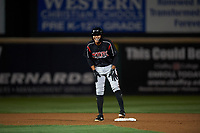 Lake Elsinore Storm shortstop Kelvin Melean (17) during a California League game against the Rancho Cucamonga Quakes at LoanMart Field on May 19, 2018 in Rancho Cucamonga, California. Lake Elsinore defeated Rancho Cucamonga 10-7. (Zachary Lucy/Four Seam Images)