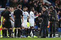 Everton Manager, Marco Silva, shakes hands with Ademola Lookman at the end of the match during Chelsea vs Everton, Premier League Football at Stamford Bridge on 11th November 2018