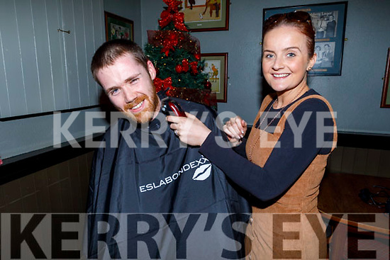 Thomas Raymond getting ready to be shaved by Carianne Clifford Ready for a good cause raising funds for Palliative Care in memory of his dad Tom Raymond in the Munster Bar on Sunday.