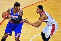 Knicks Carmelo Anthony looks to score against Wizards Otto Porter. New York defeated Washington 115-104 during a NBA preseason game at the Verizon Center in Washington, D.C. on Friday, October 9, 2015.  Alan P. Santos/DC Sports Box