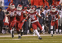 NWA Media/Michael Woods --11/22/2014-- w @NWAMICHAELW...University of Arkansas safety Rohan Gaines (26) returns an interception for a touchdown in the 3rd quarter of Arkansas 30-0 win over Ole Miss during Saturdays game at Razorback Stadium.
