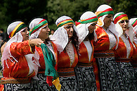 Turkish folkdancing at the Day-Mer Festival 2009 at Clissold Park, Hackney, London, UK