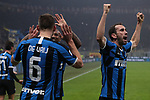 Stefan de Vrij of Inter celebrates with team mates Ashley Young and Diego Godin after scoring to give the side a 3-2 lead during the Serie A match at Giuseppe Meazza, Milan. Picture date: 9th February 2020. Picture credit should read: Jonathan Moscrop/Sportimage