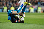 Deportivo de la Courna´s goalkeeper Fabricio receives a kick in his face during La Liga match at Santiago Bernabeu stadium in Madrid, Spain. February 14, 2015. (ALTERPHOTOS/Victor Blanco)