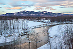 The Moat Mountains and the Saco River in the White Mountain National Forest, New Hampshire, USA