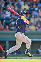 First baseman Dash Winningham (34) of the Columbia Fireflies bats in a game against the Greenville Drive on Sunday, May 8, 2016, at Fluor Field at the West End in Greenville, South Carolina. Greenville won, 5-4. (Tom Priddy/Four Seam Images)