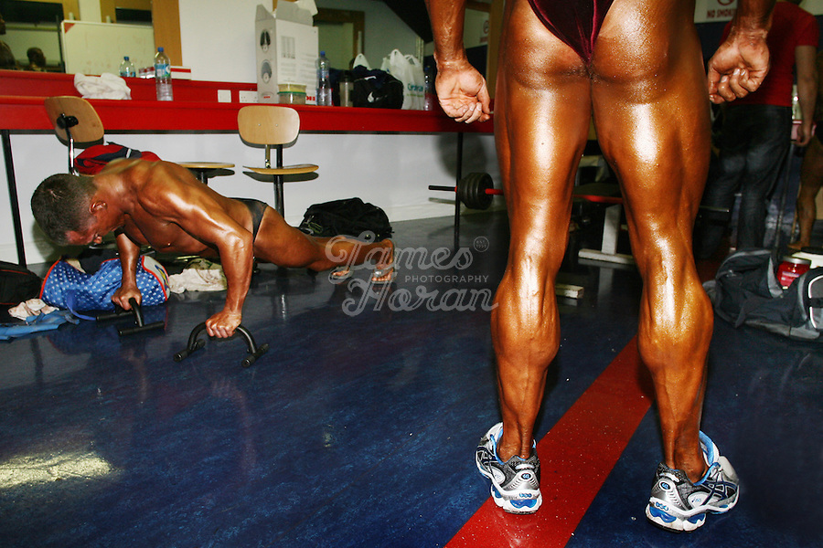 Competitors are pictured warming up back stage at the RIBBF (Republic of Ireland Body Building Federation) National Championships held in Limerick at the Millennium Theatre, LIT, Ireland.