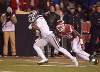 NWA Democrat-Gazette/BEN GOFF @NWABENGOFF<br /> Fred Ross, Mississippi State wide receiver, outruns Josh Liddell, Arkansas free safety, on his way to scoring a touchdown in the second quarter on Saturday Nov. 21, 2015 during the game in Razorback Stadium in Fayetteville.