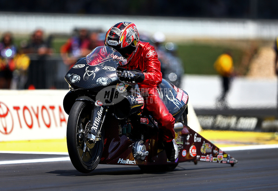 Jun. 2, 2013; Englishtown, NJ, USA: NHRA pro stock motorcycle rider Matt Smith during the Summer Nationals at Raceway Park. Mandatory Credit: Mark J. Rebilas-