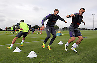 Pictured: Gylfi Sigurdsson (C) and Leon Britton Wednesday 10 August 2016<br /> Re: Swansea City FC training at Fairwood training ground, UK