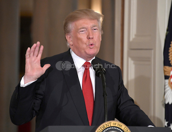 United States President Donald J. Trump announces he will name Principal Deputy White House Chief of Staff Kirstjen Nielsen as Secretary of Homeland Security in the East Room of the White House in Washington, DC on Thursday, October 12, 2017.  If confirmed, Nielsen will replace Acting US Secretary of Homeland Security Elaine C. Duke, who has been in that position since General John F. Kelly, USMC (Retired) resigned to become White House Chief of Staff.<br /> Credit: Ron Sachs / CNP /MediaPunch