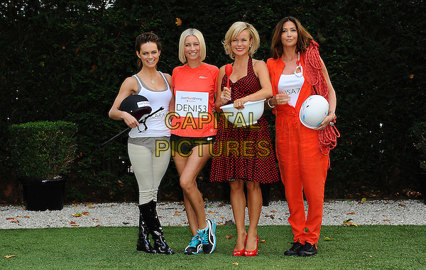 Kara Tointon, Denise Van Outen, Amanda Holden & Lisa Snowdon.Photocall for Vodafone JustTextGiving Charity Challenges, London, England..5th September 2011.full length black boots grey gray trousers white tank top sleeveless shorts orange t-shirt dress polka dot bowl baking riding running climbing costume helmet rope halterneck.CAP/CJ.©Chris Joseph/Capital Pictures.